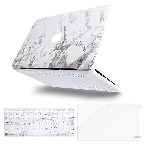 MOSISO Plastic Pattern Hard Case&Keyboard Cover&Screen Protector Only Compatible with Old Version MacBook Pro 13 inch (A1278, with CD-ROM) Release Early 2012/2011/2010/2009/2008, White Marble (Macbook Pro A1278 Screen)
