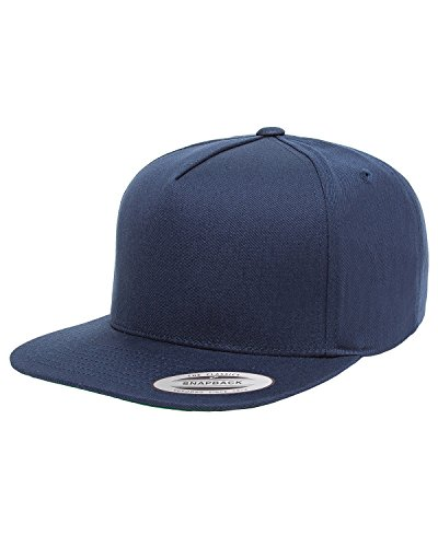 Yupoong Men's 5-Panel Cotton Twill Snapback Cap, Navy, - Cyber Snapback Monday Deals