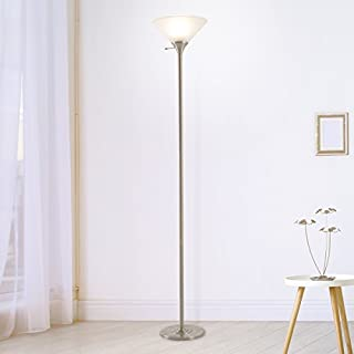 Lavish Home Bronze Torchiere Floor Lamp-Standing Light with Sturdy Metal Base and Frosted Glass Shade-Energy Saving LED Bulb Included