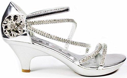 V-Luxury Delicacy Womens ANGEL48 Open Toe Rhinestones Med Low Heel Party Sandal (7 B(M) US, SilverB)