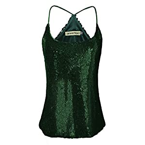 Anna-Kaci Womens Sequin Spaghetti Strap Crop Camisole Tank Top, Matte or Shiny