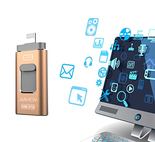 JIAHCN USB Flash Drive for iPhone iPad 128GB - Photo Stick - USB 3.0 Jump Drive,Memory Stick External Storage with iPhone/PC/iPad/Android and More Devices with USB Port (Gold) -