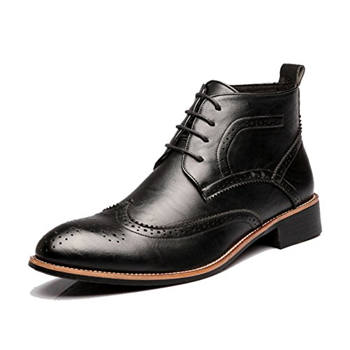 Pp Mode Mens Vintage Kil Carving High-top Ankel Höga Läderstövlar Oxford Skor Svart