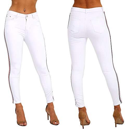 Mujer Vaqueros Para Xelay Skinny Blanco 8qUxBwa
