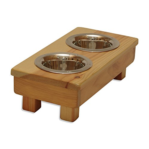 OFTO Raised Dog Single or Double Bowls - Solid Wood Cat and Dog Bowl Stands, with Embossed Stainless Steel Bowl(s) -Large, Medium, and Universal Sizes - Eco-Friendly and Non-Toxic - Made in the USA by OFTO (Image #1)