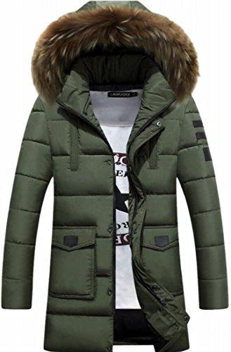 Down 1 Parka Coat Hood Faux Fur Solid TTYLLMAO Mens Casual Up Zipper wA4n8qP