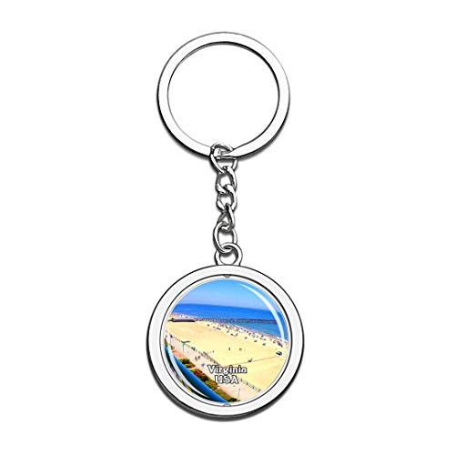 USA United States Keychain Virginia Beach Boardwalk Key Chain 3D Crystal Spinning Round Stainless Steel Keychains Travel City Souvenirs Key Chain Ring -