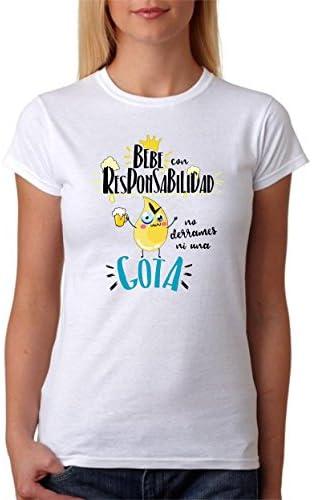 MardeTé Camiseta Bebe con Responsabilidad no derrames ni una Gota. Divertida Camiseta de Regalo para Amigas borrachas: Amazon.es: Ropa y accesorios