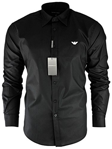 Emporio Armani Men's Long Sleeve Casual Shirt (Black, Large)
