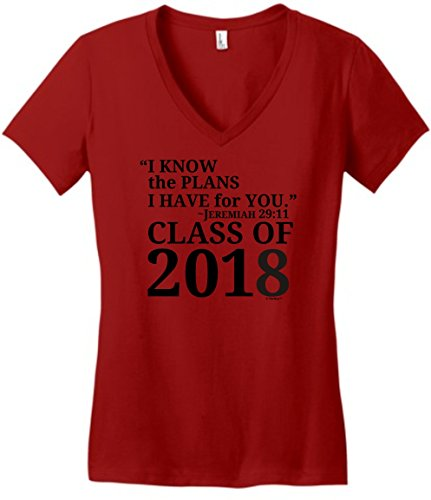 ThisWear Christian Graduation Gifts Christian Graduation Gift Jeremiah 29:11 Class 2018 Juniors Vneck Large ClRed Christian Juniors T-shirts