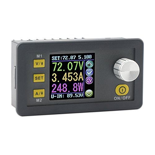 DROK Numerical Control Voltage Regulator, Adjustable Buck Converter LCD Display Panel 10-90V Step Down to 0-80V 5.1A Volt Stabilizer Variable Power Supply Board with Constant Voltage & Current