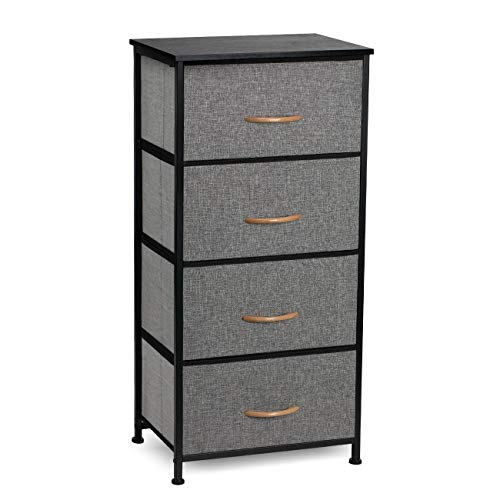 COSYLAND 4 Drawer Dresser Storage Tower, Fabric Organizer Unit Stable for Bedroom, Closet, Entryway, Hallway, Nursery Room Black