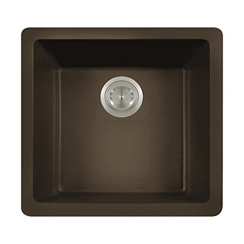 805 Dual-mount Single Bowl Quartz Kitchen Sink, Mocha, No Additional Accessories