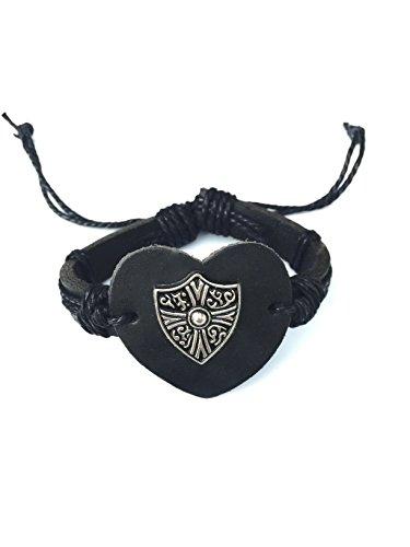 [Real Spark Womens Mens Love Heart Black Cord Punk Rock Leather Rope Adjustable Wrap Bracelet] (Johnny Depp Wolf Costume)
