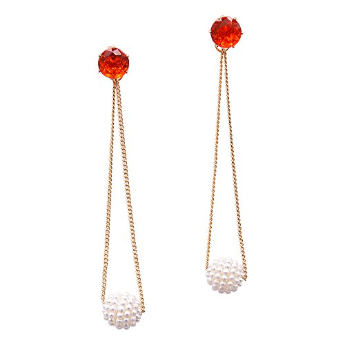 Women's Red Crystal Earring Simulated Pearl Dangle Drop Earring 18k Gold Long Chain (Pearl Red Gold Earrings)