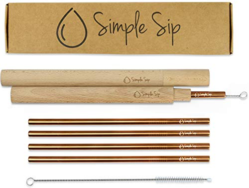 (Reusable Stainless Steel Straw Set with Cleaner Tools and Wood Carrying Cases by Simple Sip | Rose Gold)
