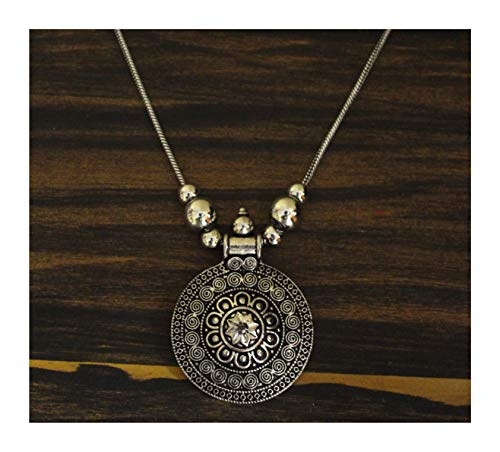Jewel India Ethnic Fashion Handmade Statement African Indian Turkish Tribal Oxidized German Silver Necklace