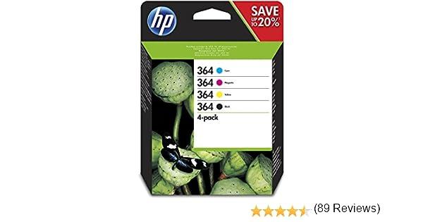 HP 364 - Cartucho de Tinta para Impresoras, Pack Negro, Cián, Magenta, Amarillo, Photosmart D5400/D7500 - B109/B110, C5380 A, -40 - 70 °C, 5 - 50 °C, 5 - 80°C, 135 g: Amazon.es: Oficina y papelería