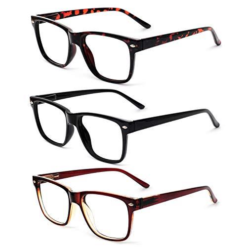 OCCI CHIARI Reading Glasses Readers Women Men Prescription Eyeglasses Computer Eyewear Hinge 3 Packs 300 ()