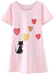 Zegoo Lovely Pint Nightgowns for Girls Cotton Short Sleeve