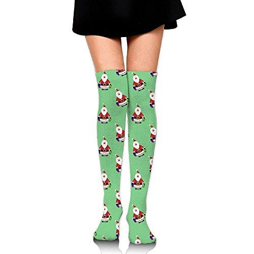(Ksipop Long Socks Santa Claus Clipart Knee-High Tube Thigh-High Sock Stockings For Girls & Womens)