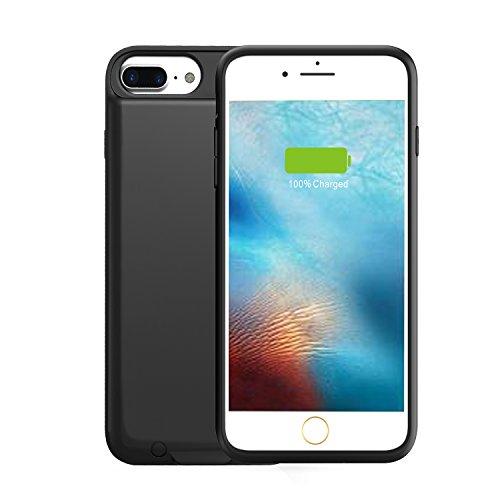 iPhone 7 Plus/ 8 Plus Battery Charging Case Ultra Slim, VORCSBINE 4000mAh Charger Case for iPhone 7 Plus/8 Plus Support Lightning Port Headphones-Black(5.5inch)