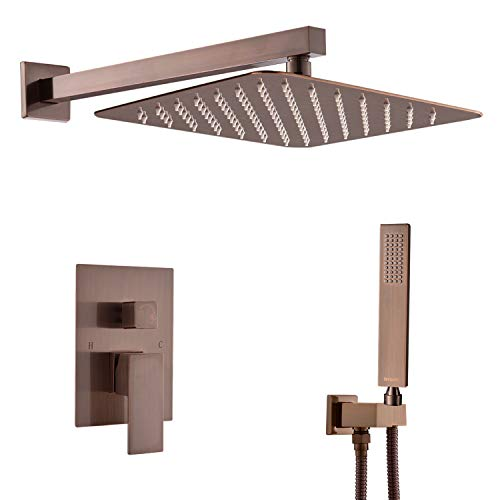 Artbath Bronze Shower System,Wall Mounted Luxury Rain Mixer Shower Faucet Set with Showerhead and Handheld Shower Head System(Contain Shower Faucet Rough-In Mixer Valve body and trim),Bronze