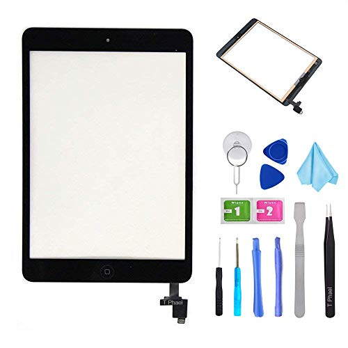 T Phael Black Digitizer Repair Kit for iPad Mini 1&2 A1432 A1489 Touch Screen Digitizer Replacement with IC Chip + Home Button + Tools + Pre-Installed Adhesive