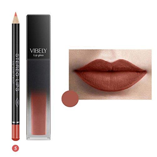 725 Stick - Ourhomer 12 Color Matte Mist Face Don't Stick Cup Lip Gloss Liquid Labial Line Pen Suit(Lipstick +Lip Liner) (E)