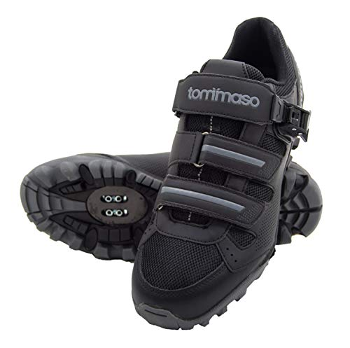 (tommaso Vertice 200 Men's All Mountain Vibram Sole Mountain Bike Shoes with Buckle - 41 Black/Grey)