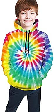 Bluepop 3D Printed Hoodie Sweatshirts with Pockets for Boys Girls, Rainbow Tie Dye
