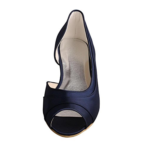 Wedopus MW060 Women's D'Orsay Satin Open Toe Ballet Flat Navy Bridesmaid Prom Party Shoes QQfKMIYLGM