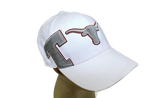 Texas Longhorns Official NCAA Hat Classic Cap by Top of the World 752574 (One Size, White/Silver) ()