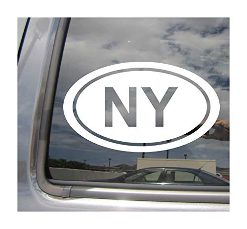 - NY The State of New York Code Oval Euro Style - Abbreviation Albany New York City The Empire State Cars Trucks Moped Helmet Auto Automotive Craft Laptop Vinyl Decal Store Window Wall Sticker 16034