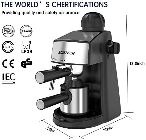 Espresso Machine 3.5 Bar 4 Cup Espresso Maker Cappuccino Machine with Steam Milk Frother and Carafe