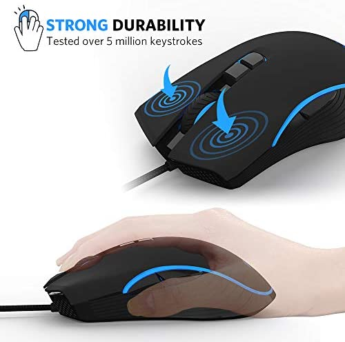 FIODIO Wired Gaming Mouse, 4 RGB LED Backlight Modes Computer Gaming Mice with 4 Levels Adjustable DPI up to 2400, Comfortable Ergonomic Optical PC Laptop MacBook Gamer Mouse for Windows 7/8.1/10 41MlAztmMSL