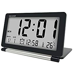 SODIAL Travel Alarm Clock LCD Mini Digital Desk Folding Electronic Alarm Table Clocks with Blue Backlight Snooze Calendar(Black)