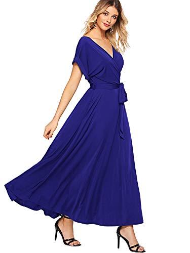 Milumia Women's Boho Deep V Neck Floral Chiffon Wrap Split Long Maxi Dress Dark Blue X-Large