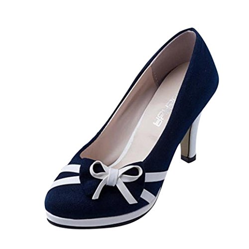Round erthome Fashion Shallow Women High Shoes Toe Shoes Bowknot Heeled Summer Blue Spring W8xSUrq8I