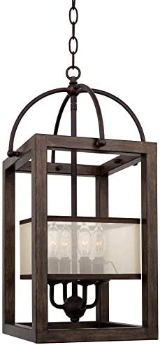 Kira Home Raven 23 4-Light Traditional Lantern Pendant, Foyer Chandelier with Metal Cage Frame Organza Fabric Shade, Mission Wood Style Finish