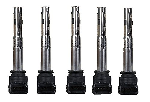 (Pack of 5 Ignition Coil for 2006-2014 Volkswagen Beetle Golf Passat Rabbit 2.5L L5 Compatible with C1627 )