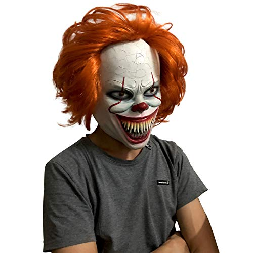 Angry Clown Face (Jacos clown it pennywise mask 2019 halloween for adult,brown hair,tooth)