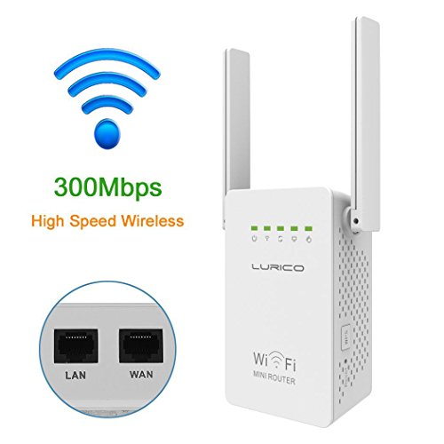 WiFi Range Extender, LURICO 300Mbps Wireless WiFi Repeater / Signal Booster / WiFi Router / Amplifier With Dual External Antennas For 360 Degree WiFi Network Signal