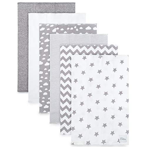 Burp Cloths 6 Pack Large 100/% Cotton Washcloths Double Layered Grey Pattern