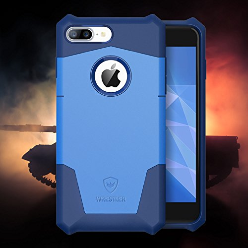 Custodia per iPhone 7 Plus, Wrestler Protettiva Staccabile Due Pezzi Shock Prova Ibrido Custodia Angoli Rinforzati per iPhone 7 Plus 2016 (Blu Marina/Blu Mare)