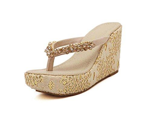 Zapatillas de dedo del pie de las mujeres sandalias de la correa sandalias de la playa 4 cm de la cuña del talón con...