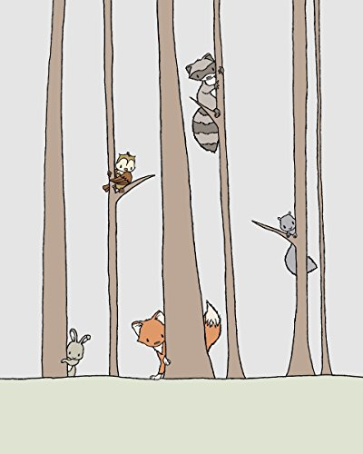 (Peek A Boo - Woodland Nursery Art Print)