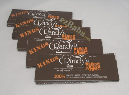 Randy's Roots Wired Rolling Papers King Size 5 Packs, 100% Organic Vegan