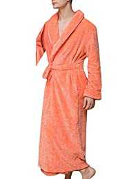 79e25afb82 Men s Shawl Collar Thick Soft Bathing Flannel Lounge Robes