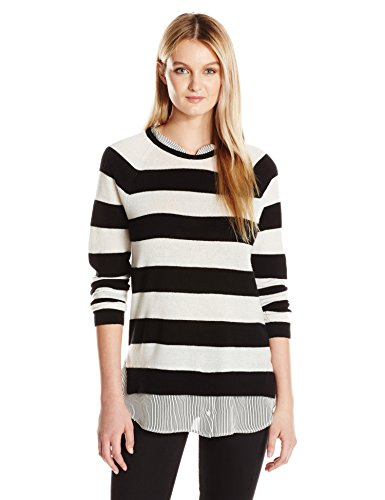 Joie Women's Aisly Sweater, Caviar/Porcelain, M (Joie Striped Sweater)